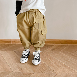 Spring Autumn boys fashion many pockets cargo pants children casual 3 colors ankle-tied trousers 1-7Y