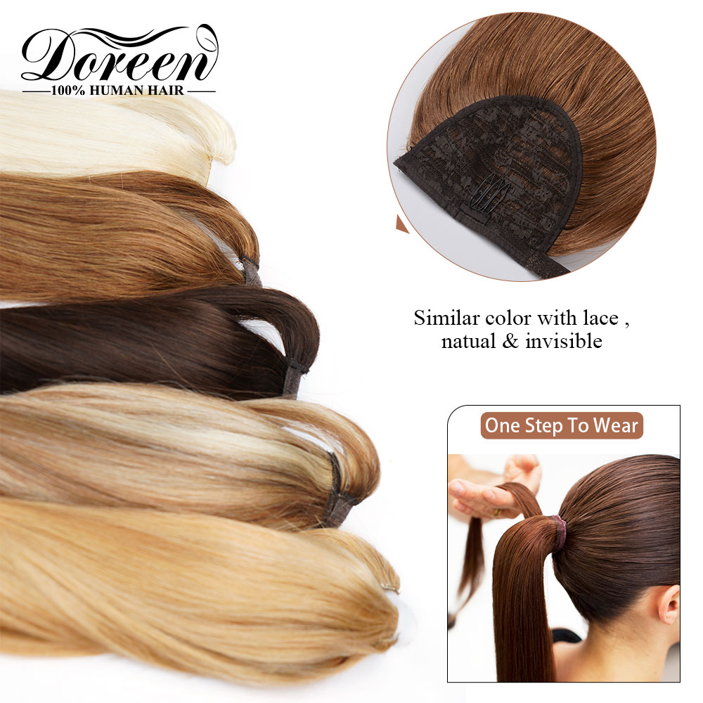 Promote24 26 28 inch 160g Ponytail Human Hair Magic Wrap Around Clip In Ponytail Extensionsœ