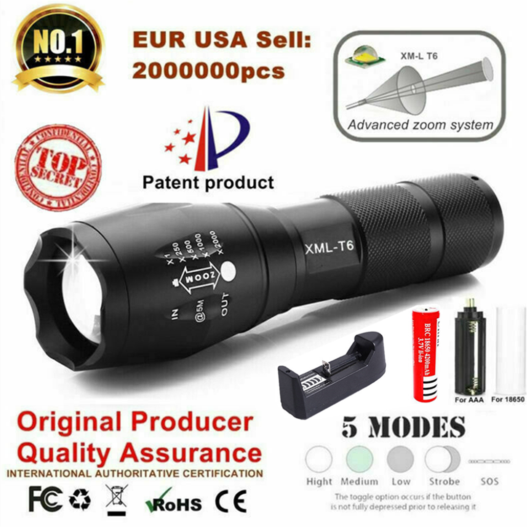 <font><b>LED</b></font> Rechargeable Flashlight Abay XML T6 linterna torch 18650 Battery 5 Modes Waterproof Outdoor Camping Powerful <font><b>Led</b></font> Flashlight image