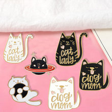 """CAT LADY"" ""DOG MOM"" Lapel Pins Angry Planet Cat Brooches Badges Backpack Accessories Enamel Pins Cute Jewelry Gift For Friends(China)"