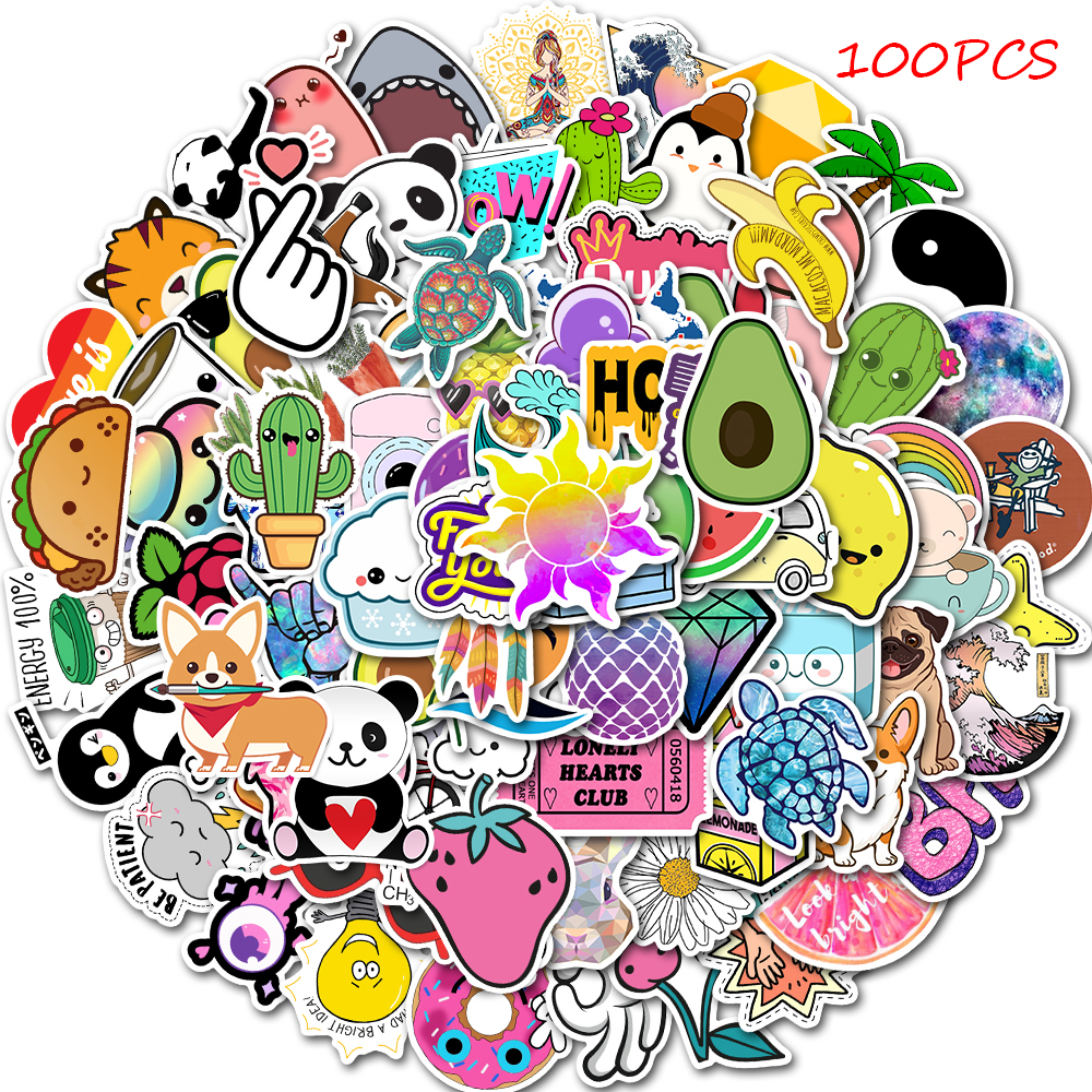 50/100 PCS Cartoon Simple VSCO Girls Kawaii Stickers For Chidren Toy Waterproof Sticker To DIY Laptop Bicycle Helmet Car Decals