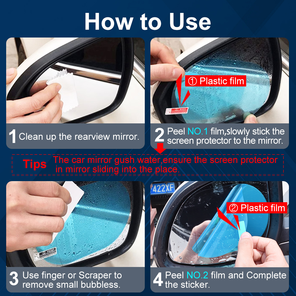 Image 5 - 2PCS Anti Fog Car Mirror Window Clear Film Anti glare Car Rearview Mirror Protective Film Waterproof Rainproof Car Sticker-in Decorative Foil & Tattoos from Automobiles & Motorcycles
