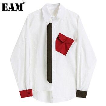 [EAM] Women Contrast Color Big Size Irregular Blouse New Lapel Long Sleeve Loose Shirt Fashion Tide Spring Autumn 2021 1DD2098 1