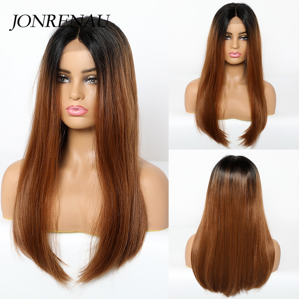 Image 4 - JONREANU Synthetic Lace Front Wig Short Curly Ombre Brown Heat Resistant Fiber Afro Wig for African American WomenSynthetic None-Lace  Wigs   -