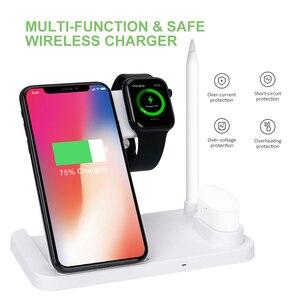 Image 5 - DCAE 10W Qi kablosuz şarj cihazı 4 in 1 şarj standı istasyonu iPhone 11 XS XR X 8 Airpods Apple izle 5 4 3 2 için Samsung S10 S9