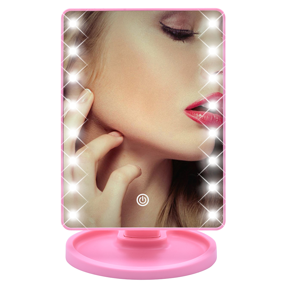 Dimmable <font><b>16</b></font> <font><b>LEDs</b></font> <font><b>Lighted</b></font> Makeup Mirror Touch Screen Portable Professional Lamp Cosmetic Mirror Make Up for Tabletop D30 image