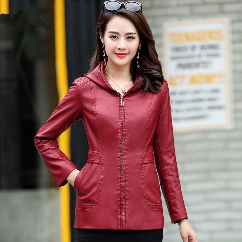 2019 New Womens Elegant Hooded Leather Jackets Ladies Slim Soft Sheepskin Leather Coat Plus Size 6XL