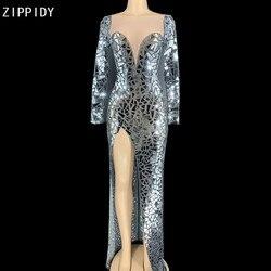 Brillant argent miroir Transparent longue robe anniversaire célébrer tenue de bal robe de fête Bar femmes robe de danse YOUDU