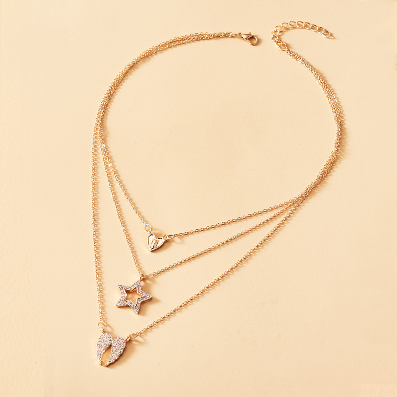 2020 Fashion Full Rhinestone Star Heart Angel Wing Pendant Necklaces for Women Girl Gold Color Metal 3 Layed Choker Necklace