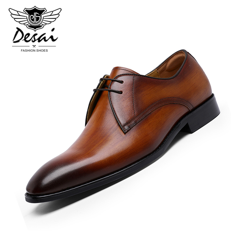 Zapatos de vestir de negocios de DESAI nuevos zapatos casuales de hombre costura a mano de cuero genuino Oxfords tamaño grande de la UE 38-47 zapatos de calzado de los hombres
