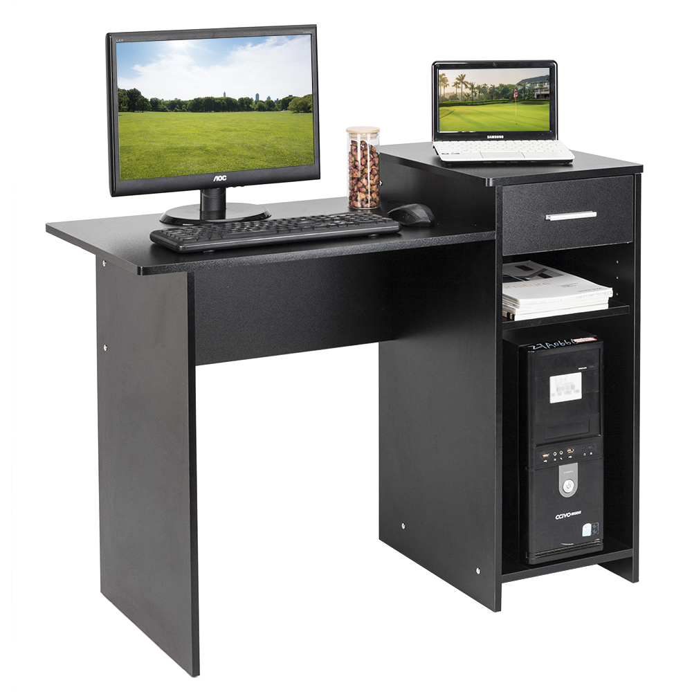【US Warehouse】High-quality Integrated Melamine Board Computer Desk With Drawer 8526 Black (Computer Desk Table)