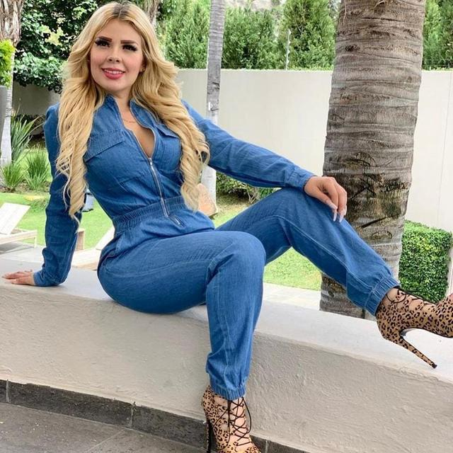 Adogirl Spring Women Long Sleeve Jeans Denim Jumpsuit Casual Zipper Up Deep V Neck Jeans Rompers Sexy Streetwear Outfit Overalls 3