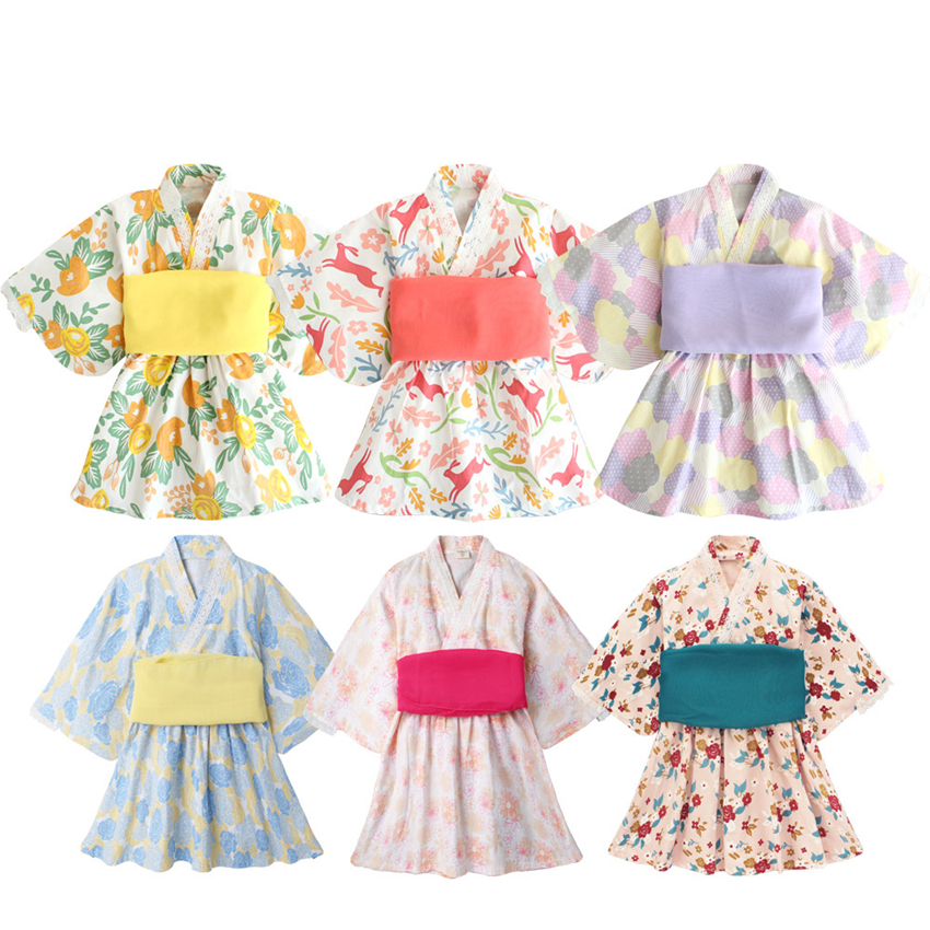 New Japanese Style Girls Dress Kimono Cosplay Print Haori Yukata Obi Hmong Japan Fashion Clothing For Toddler 1-8 Years Old