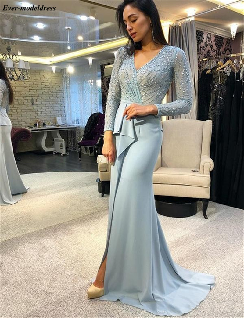 Long Sleeves   Evening     Dresses   2019 Side Split Beaded Zipper Back Pleats Mermaid Fromal Prom Party Gowns Robe de soiree