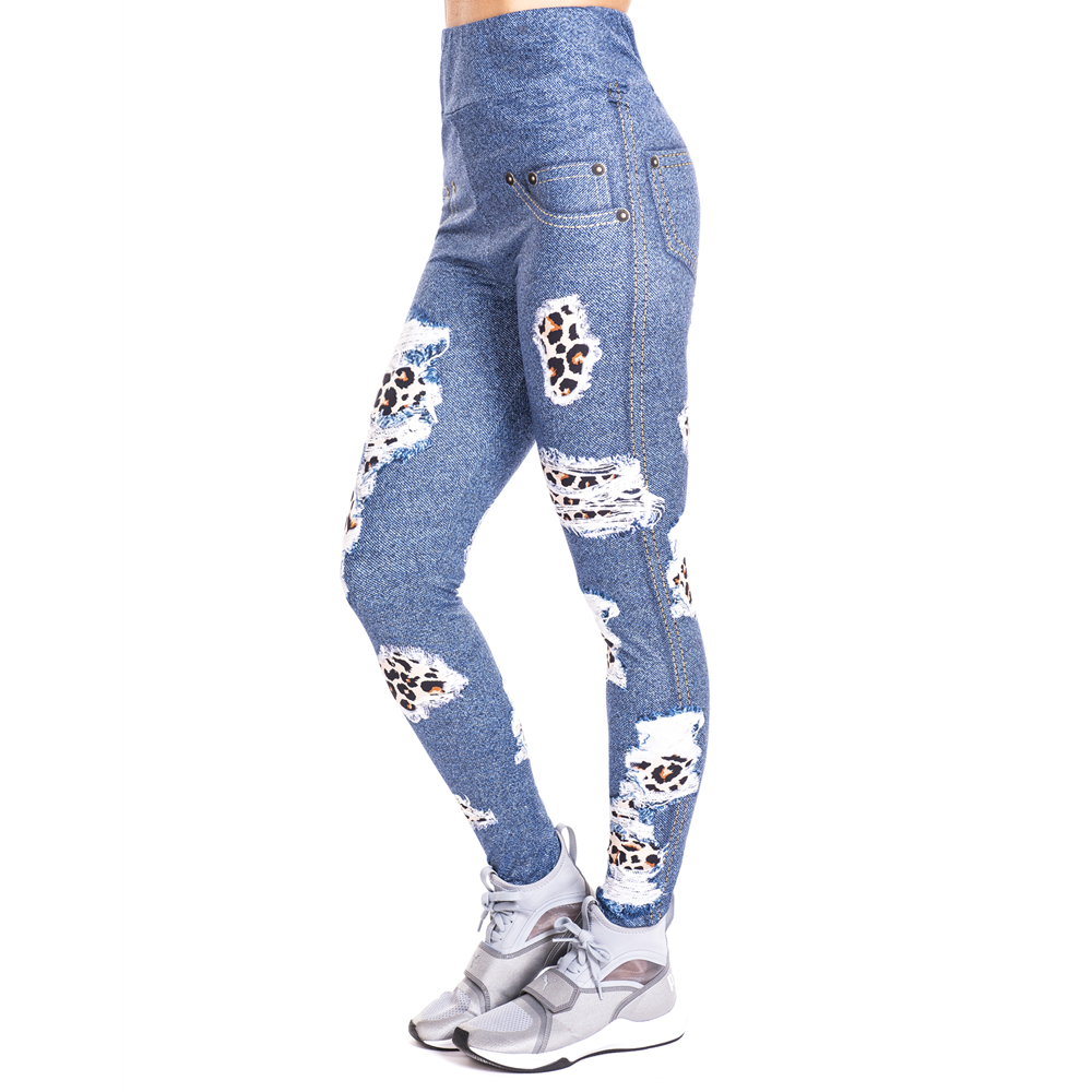 Leopard Patches Imitate Jeans Print Legging Push Up Fashion Pants High Waist Workout Jogging Leggings