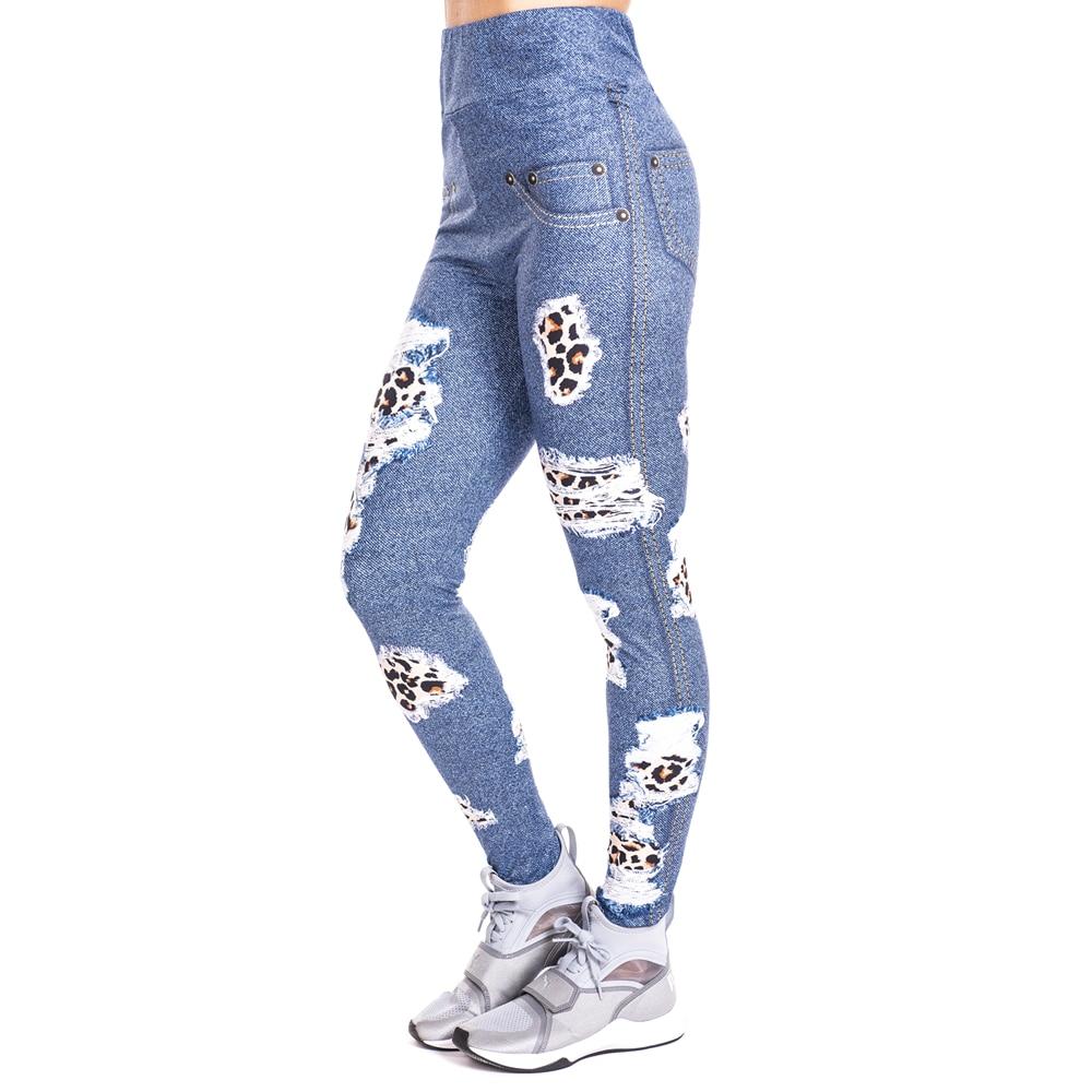 Leopard Patches Imitate Jeans Print Legging Push Up Fashion Pants High Waist Workout Jogging Leggings