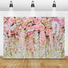 Laeacco Wedding Photo Backgrounds Pink White Flowers Floral Wall Birthday Party Photography Backdrop Baby Shower Photocall Props