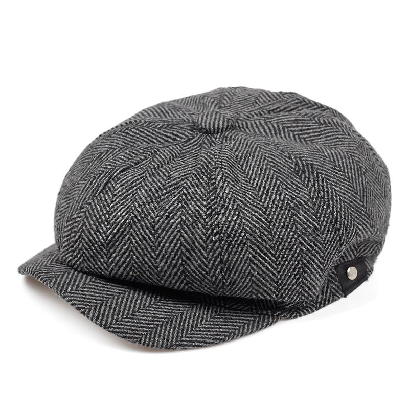 Men British Style Octagonal Hats Winter Wool Hat Gatsby Cap Ivy Hat Golf Driving Autumn Women Cotton Flat Cabbie Newsboy Caps