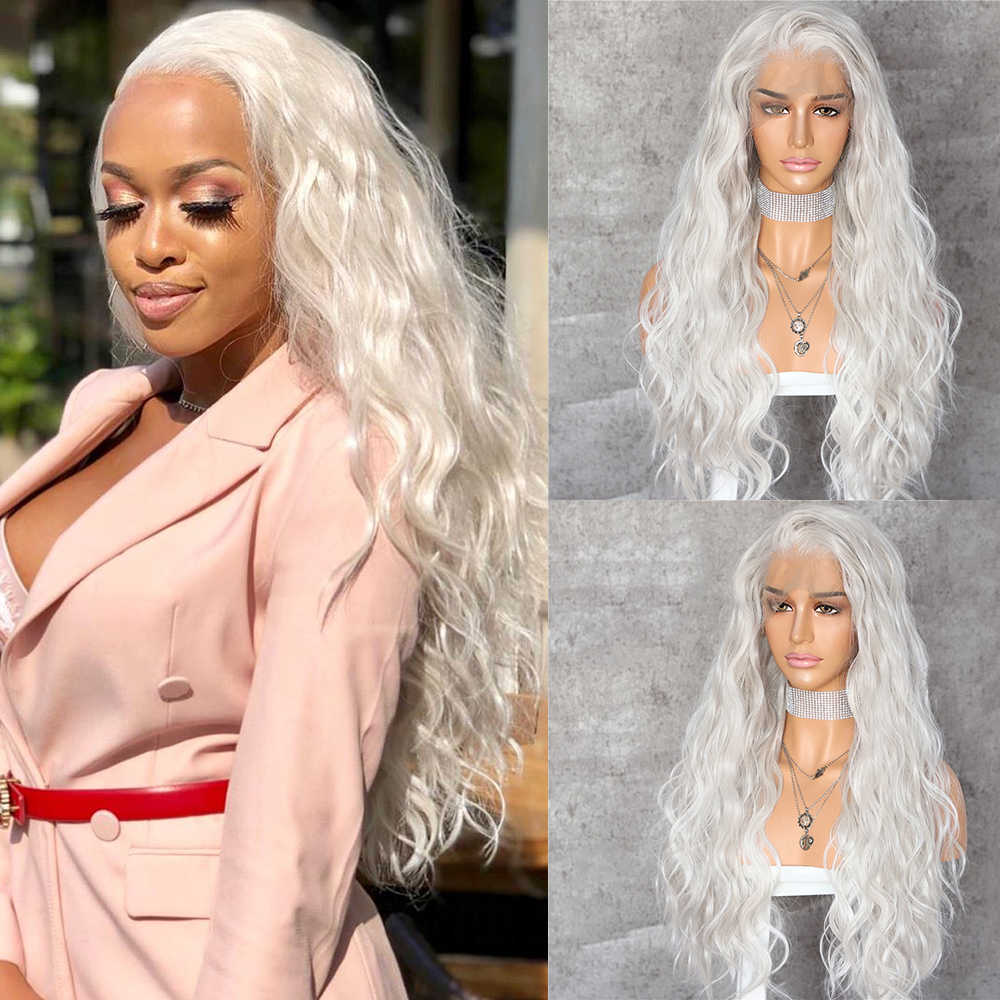 Lvcheryl Lace Front Wig Natural Wave Platinum Grey 13x6 Synthetic Lace Front Wig Futura Hair Lace Wigs For Women