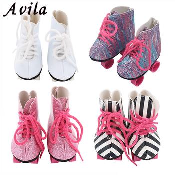 Lalki wrotki dla 18 cal amerykańska lalka buty dla 43cm Reborn lalki dla dzieci modne prezenty dla dziewczyny akcesoria dla lalek tanie i dobre opinie Avila RUBBER just for doll 18 inch American doll shoes Unisex Moda