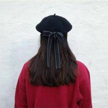 Fashion Women Beanie Beret Cap Bowknot Hats Winter Warmer French Artist Hats Ski