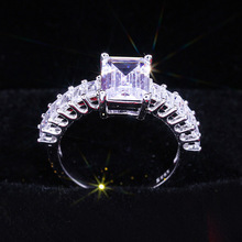 Classic Silver Princess Cut White Crystal Wedding Ring Exquisite Dainty Zircon Engagement Jewelry Anniversary Gift Accessories exquisite gold princess cut white zircon wedding ring bridal engagement ring anniversary jewelry birthday christmas gifts