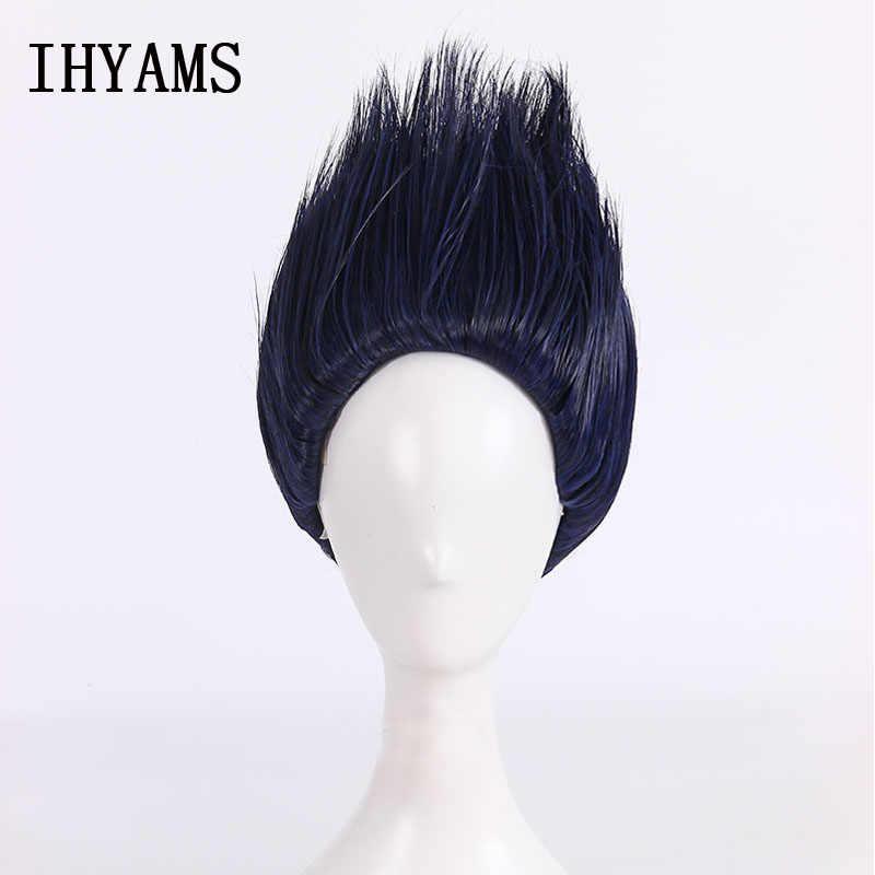 Naruto kisame hoshigaki cosplay peruca curto azul escuro resistente ao calor peruca de cabelo sintético + peruca boné