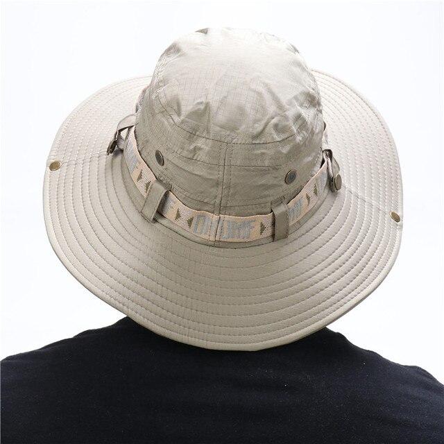 Waterproof Bucket Hat Summer Men Women Boonie Hat Outdoor UV Protection Wide Brim Panama Safari Hunting Hiking Fishing Sun Hat 4