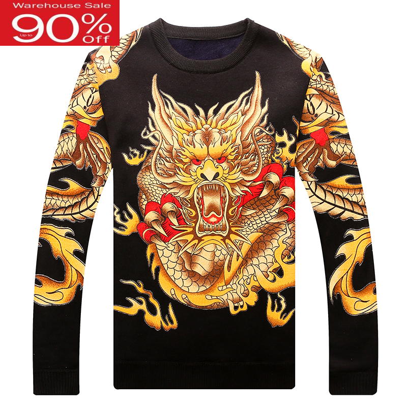 Winter Men Knitted Pullover Dragon 2020 New Arrival Plus Velvet Keep Warm Male Sweater Teenage Boys Chinese Style M64