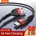 PZOZ 1m 2m провод Micro USB кабель 3A быстрой зарядки Microusb зарядное устройство данные шнур для Samsung S7 Xiaomi Redmi Примечание 5 Pro 4X плюс huawei планшеты Мобильн...