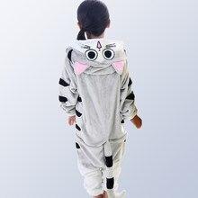 Kigurumi crianças para meninas meninos inverno flanela dos desenhos animados gato crianças meninos meninas pijamas pijamas do bebê pijamas pijamas onesies