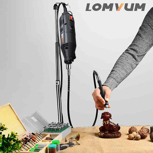 Image 2 - LOMVUM Electric Grinder Dremel Style Mini Drill Rotary Tools Set 350W DIY Grinder 400W 6 Speed Abrasive Tool Engraver Kit Shaft