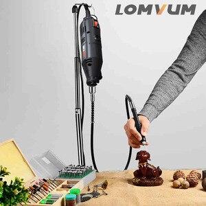 Image 2 - LOMVUM Elektrische Grinder Dremel Stil Mini Drill Rotary Werkzeuge Set 350W DIY Grinder 400W 6 Geschwindigkeit Schleif Werkzeug stecher Kit Welle