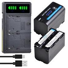 2pc x 5200mAH NP-F750 NP-F770 Li-ion Batterie D'appareil Photo avec INDICATEUR LED + LED USB CHARGEUR Pour Sony NP F970 F960 F550 F570 QM91D