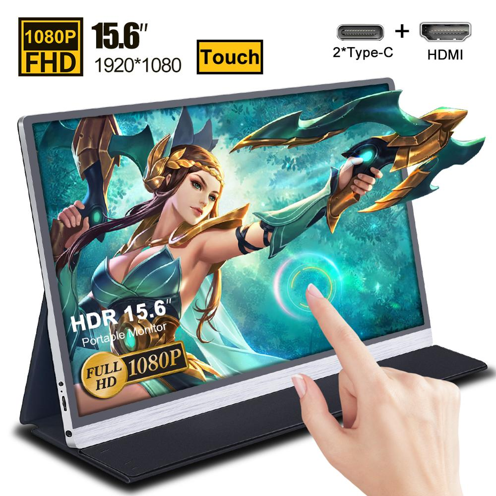 "15.6"" Touch Screen Portable Monitor IPS Screen USB Type C HDMI Display For PS4 Switch XBOX Samsung Huawei With Smart Case 1080"