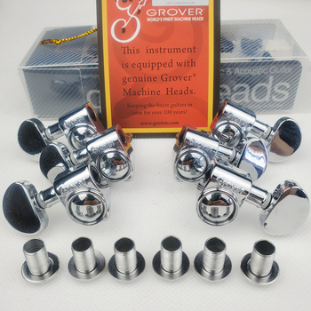 Grover Electric Guitar Machine Heads Tuners 1Set 3R-3L Chrome Silver Tuning Pegs ( With packaging ) image