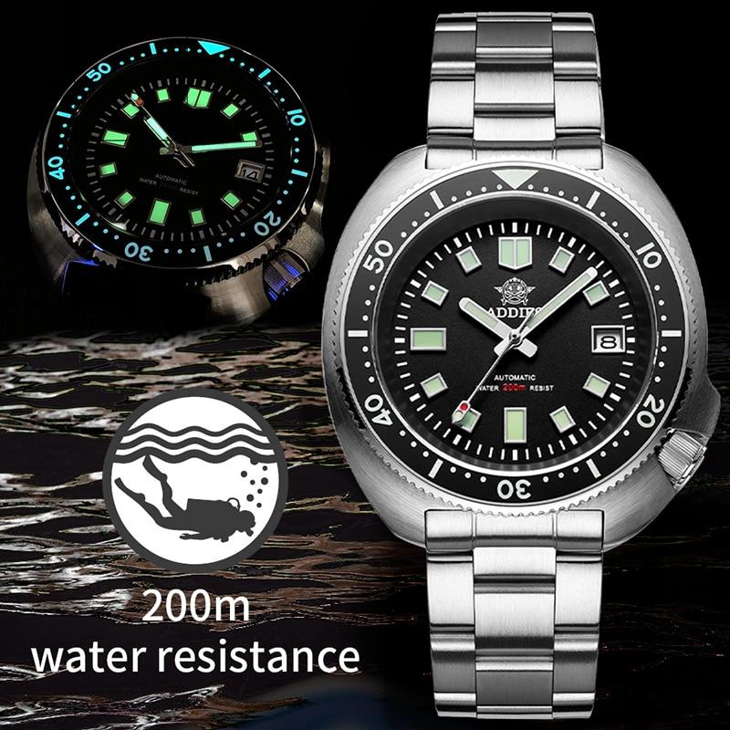 Relógio de Mergulho 200m à Prova Abalone Dwaterproof Água Relógio Automático Masculino Safira Aço Inoxidável Nh35 Mecânico