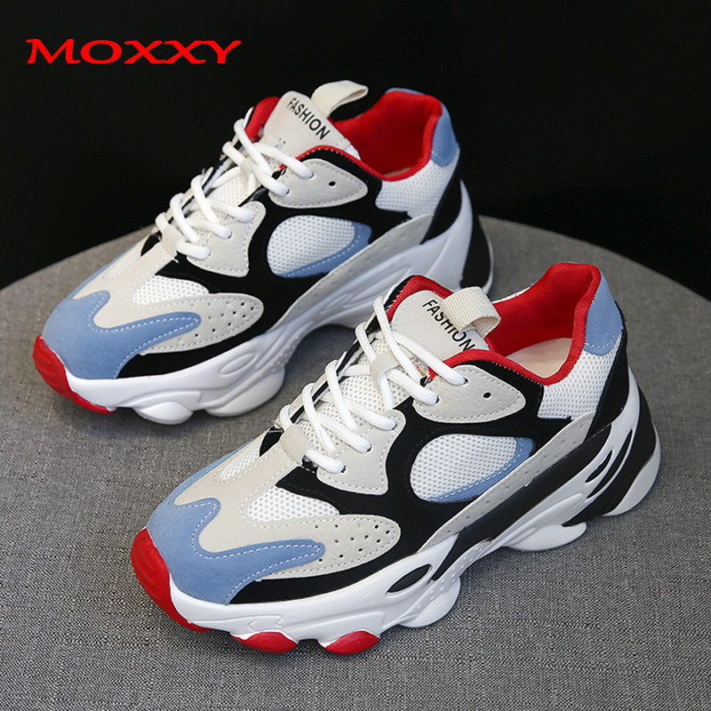 2019 New Fashion Dad Sneakers Platform Chunky Sneakers Woman Shoes Blue Black Sneakers Femme Sport Trainers Casual Shoes Women