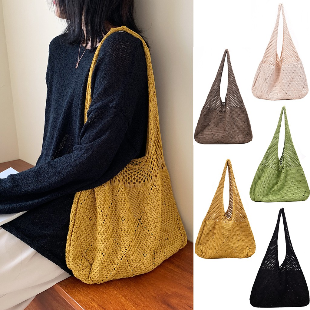 2019 Eco Shopping Bag Hollow-Out Women Knitting Shouler Reusable Shopping Bags Shopper Tote Bags Foldable Shoping Bag