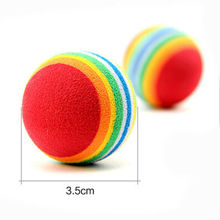 1Pcs 3.5m Random Color Rainbow Toy Ball Cat Interactive Cat Toys Play Chew Rattle Scratch EVA Ball Training Pet Product