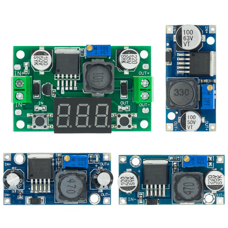 4x power module step down adj-lm2596-dc-dc in:3-40v out:1.2-35v 3a