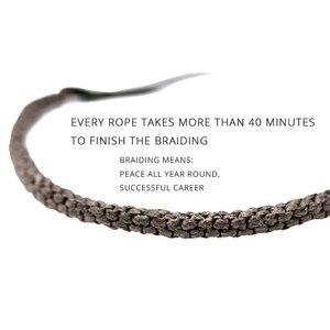 Image 2 - 925 argent porte bonheur Bracelet tressé pour hommes Double couches réglable tibétain à la main noeuds chanceux corde Bracelet personnalisé