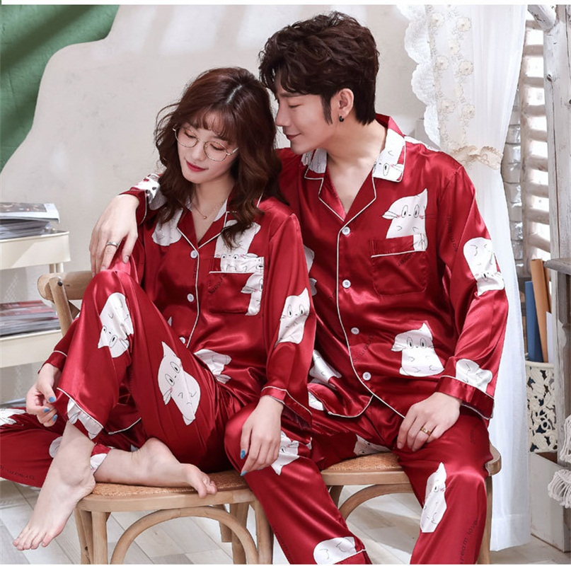 FZSLCYIYI Sleepwear Women's Couple Pajamas Pijamas Women Satin Pyjama Woman Home Wear Silk Pyjama Set Home Suit Big Size 3XL