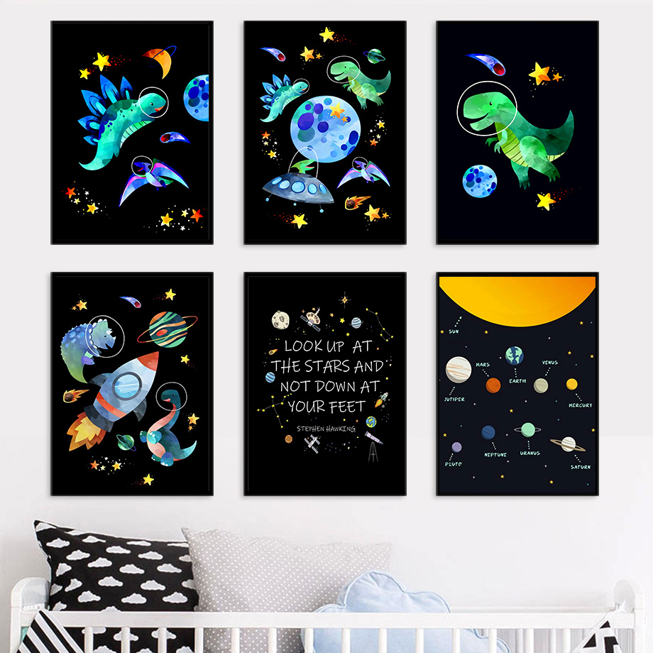 Creativity Dinosaur Planet Spaceship Wall Art Canvas Painting Nordic Posters And Prints Wall Pictures Baby Kids Room Home Decor|Painting & Calligraphy| - AliExpress