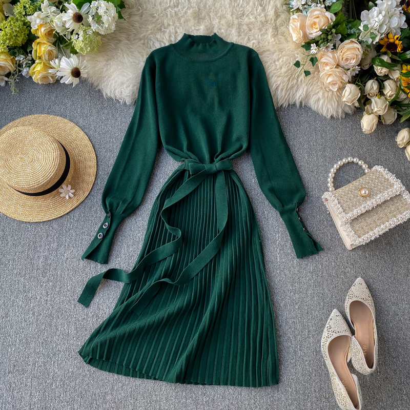 ALPHALMODA High Collar Buttons Sleeve Pleated Women Autumn Winter Sashes Tie Pleated Knit Dress Female Vintage Classical Dress 68