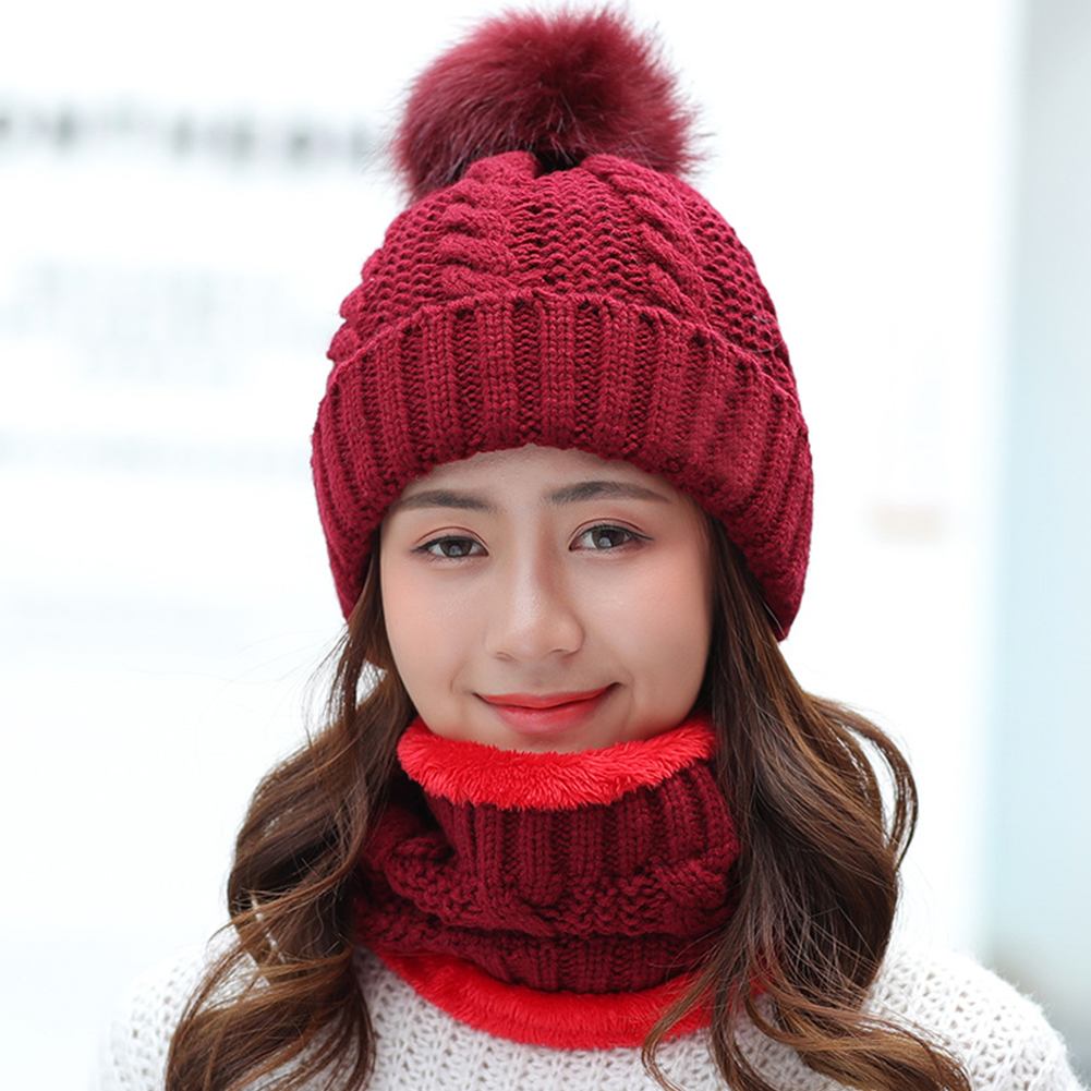Women Soft Home Beanie Hat Scarf Set Knitting Winter Slouchy Ski Cap Keep Warm Baggy Fleece Shopping Faux Fur