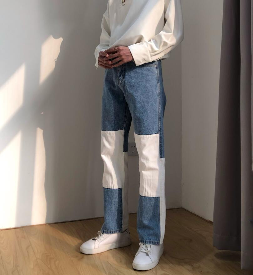2020 Men Wash Splice Casual Straight Jeans Trousers Korea Japan Style Male Fashion Streetwear Loose Hip Hop Denim Pants W251