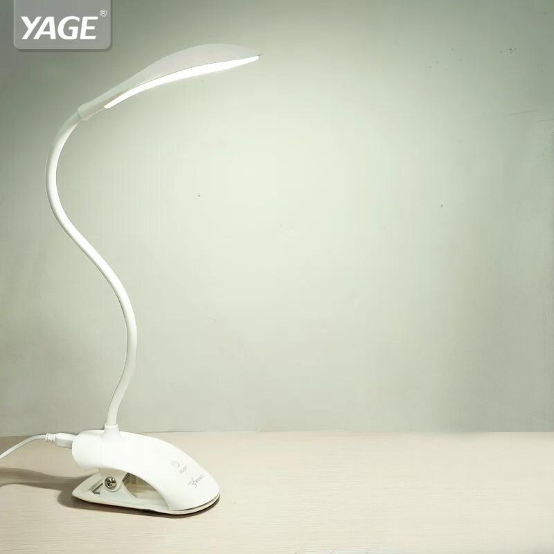 YAGE YG-5933 لمبة مكتب USB led الجدول مصباح 14 LED الجدول مصباح مع كليب السرير القراءة كتاب ضوء LED لمبة مكتب الجدول اللمس 3 طرق