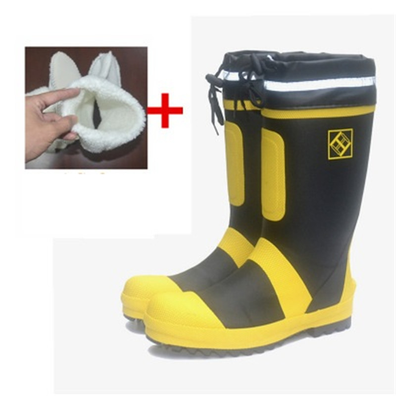 Size 36-46 47 48 49 50 Men's Steel Toe Reflective Safety Rain Boots Male Slip-on Boots Outdoor Fishing Hunting Knee-High Boots