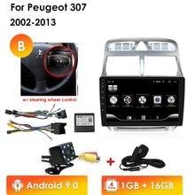 Jogador dos multimédios do carro de 2din android 10 para peugeot 307 307cc 307sw 2002-2013 navegação gps do rádio do carro wifi bluetooth 4g canbus pc